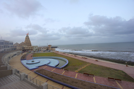 Somnath Temple as seen from sea shore, first among the twelve Jyotirlinga shrines of Shiva. Patan, near Veraval, Gujarat