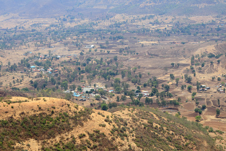 View of the valley from Sinhagad fort ,Pune, Maharashtra Stock Photo
