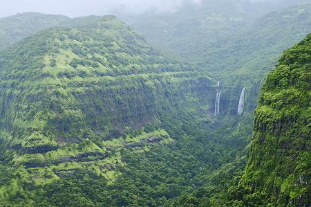 Mountains with waterfalls in Varandha ghat, Pune