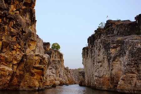 Dhuadhar gulley and Marble rocks Bhedaghat Madhya Pradesh Stock Photo
