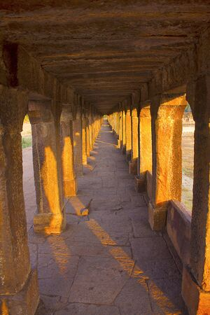 Pillar along walkway to Banashankari temple, Badami Stock Photo