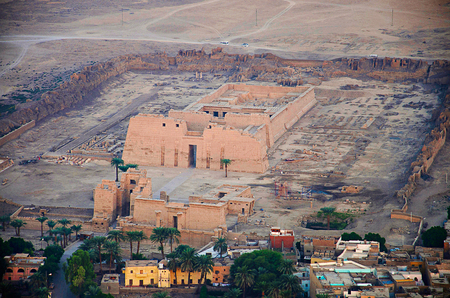 Aerial view of Luxor city and the temple of Habu for Ramses the third, Medinet Habu, Luxor Stock Photo