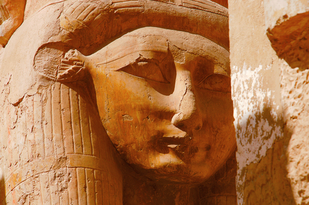 Close up view of an idol of Goddess Hathor, The cow goddess, Situated at the third floor of the Temple of Hatshepsut, Is an ancient funerary shrine, Dedicated to the sun god Amon, Located on the west