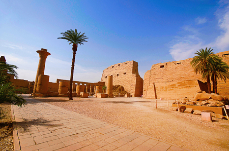 Inner view of Karnak Temple complex, Comprises a vast mix of decayed temples, chapels, pylons and other buildings, Luxor, Egypt