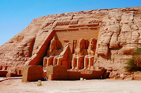 Partial view of two massive rock temples, The twin temples were originally carved out of the mountainside during the reign of Pharaoh Ramesses II in the 13th century BC, as a lasting monument to himself and his queen Nefertari