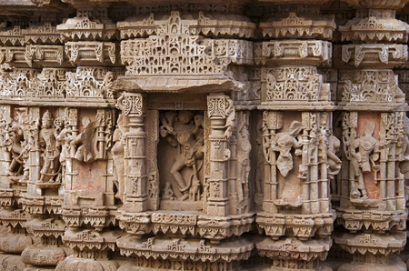 Carved idols on the outer wall of the Rudramala or the Rudra Mahalaya Temple. Sidhpur, Patan, Gujarat, India