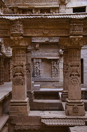 Carved inner walls of Rani ki vav, an intricately constructed stepwell on the banks of Saraswati River. Memorial to an 11th century AD King Bhimdev I. Built as inverted Vishnu temple with seven levels of stairs and holds more than 500 principal sculptures. Patan in Gujarat, India.