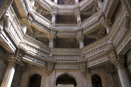 Inner view of Adalaj Ni Vav (Stepwell) or Rudabai Stepwell. Built in 1498 by Rana Veer Singh is intricately carved and is five stories deep. Ahmedabad, Gujarat, India