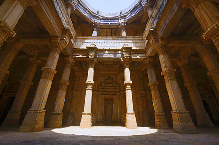 Inner view of Kevada Masjid (Mosque), has minarets, globe like domes and narrow stairs. Built in Champaner during the time of Mahmud Begada