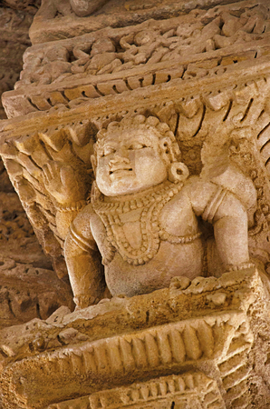 Carving details on the inner wall of the Sun Temple. Built in 1026 - 27 AD during the reign of Bhima I of the Chaulukya dynasty, Modhera village of Mehsana district, Gujarat, India Stock Photo