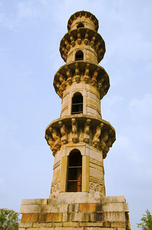 Outer view of Ek Minar Ki Masjid (Mosque), built by Bahadur Shah (1526 36 AD) on a high plinth has a single minaret (Ek Minar), while all other architectural features have disappeared. Champaner, Gujarat, India