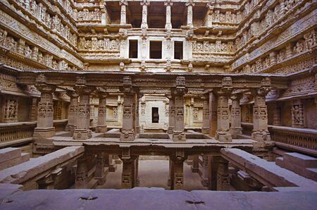 Inner view of Rani ki vav, an intricately constructed stepwell on the banks of Saraswati River. Built as a memorial to an 11th century AD king Bhimdev I, Patan, Gujarat, India.