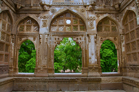 Inner carved wall of Jami Masjid (Mosque) Stock Photo
