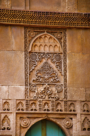 Carving details on the outer wall of the Sidi Sayeed Ki Jaali (Mosque), Built in 1573, Ahmedabad, Gujarat, India Imagens