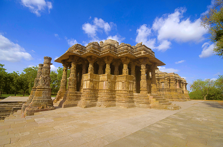 Outer view of the Sun Temple on the bank of the river Pushpavati. Built in 1026 - 27 AD during the reign of Bhima I of the Chaulukya dynasty. Modhera village of Mehsana district, Gujarat, India