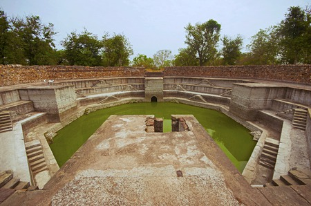 Step well, located at Jami Masjid (Mosque),  - Pavagadh Archaeological Park, Gujarat, India. Dates to 1513