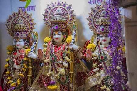 Beautifully decorated Sita Rama Laxman deity statue Stock Photo