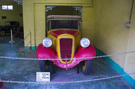 AHMEDABAD, GUJARAT, INDIA - June 2017, Close-up of the front of Austin Ruby (Year 1935), Coach work - tourer, England Auto world vintage car museum, Ahmedabad
