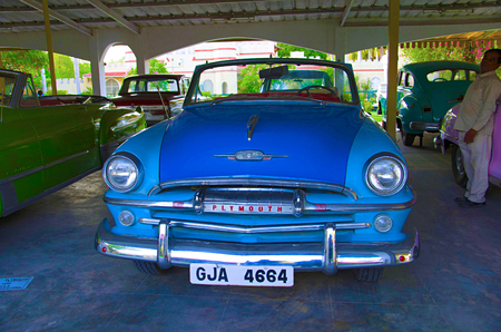 AHMEDABAD, GUJARAT, INDIA - June 2017, Close-up of the front of Plymouth (Year 1954), USA. Auto world vintage car museum, Ahmedabad