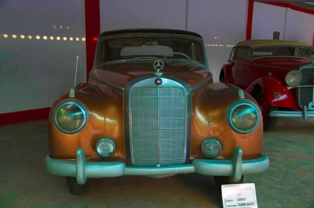 AHMEDABAD, GUJARAT, INDIA - June 2017, Close-up of the front of Mercedes Benz (Year 1955), Coach work - touring saloon, Germany. Auto world vintage car museum, Ahmedabad