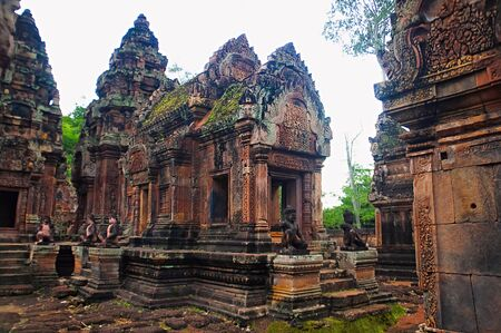 Banteay Srei temple, Angkor, Cambodia. The citadel of women, this temple contains the finest, most intricate carvings to be found in Angkor. Stock Photo
