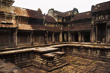 One of the four basins in the cruciform cloister, commonly known as a hall of thousand gods. Angkor Wat, Siem Reap, Cambodia. Largest religious monument in the world 162.6 hectares.