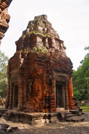 Temple Tower ruins, Prasat Preah Ko, Roluos, Cambodia. Circa Late 9th century. Dedicated to Shiva