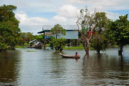 Fishing boat at Tonle Sap water village, near Siam Reap, Cambodia