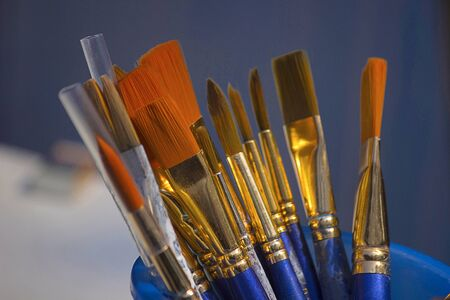 Painting brushes, Kala Ghoda Arts Festival, Mumbai, Maharashtra India Stock Photo