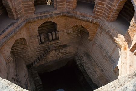 Ancient step well with windows and steps a aerial view Stock Photo