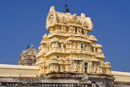 Entrance Gopuram or gate of first courtyard. Virupaksha Temple, Hampi, Karnataka, India