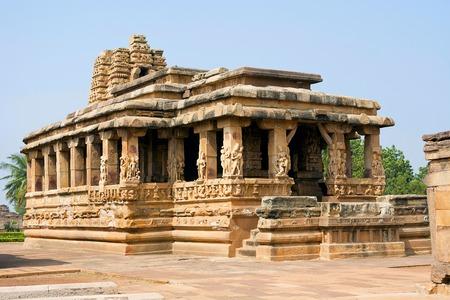 Entrance porch of Durga temple, Aihole, Bagalkot, Karnataka, India. The Galaganatha Group of temples