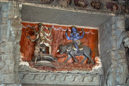 Sculptures Inside Virupaksha temple. Mythological story Of Lord shiva and Yamaraja