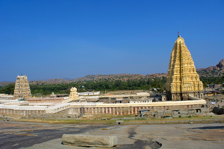 Virupaksha temple complex seen from Matanga hills, Hampi, Karnataka, India Stock Photo