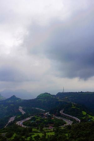 Long shot of Pune-Mumbai Express Highway, Lonavla, Maharshtra India
