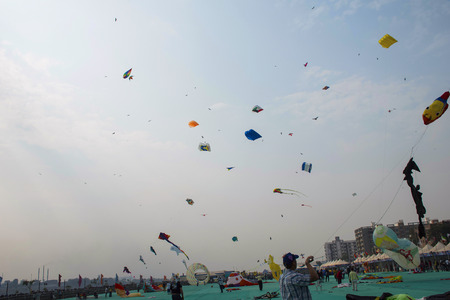 Various kites competing at the International Kite Festival at Sabarmati Riverfront, Ahmedabad, Gujarat, India