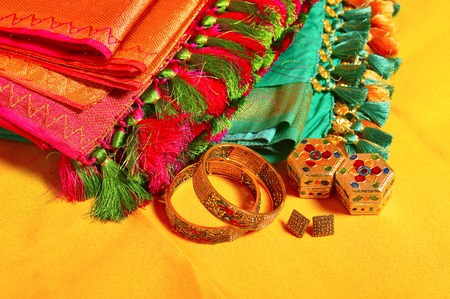 Indian women sarees with jewelry accessories, Maharashtra, India