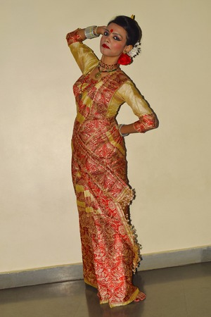 Indian girl In traditional Assamese Bihu attire at Pune, Maharashtra Stock Photo