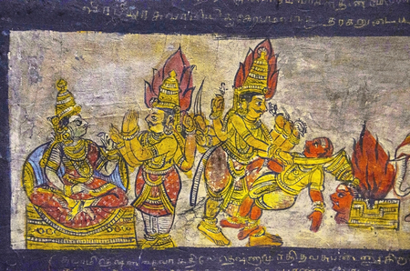 Colorful paintings on ceiling wall of the Brihadishvara Temple, Thanjavur. Lord Shiva temple is one of the largest South Indian temple and an exemplary example of a fully realized Tamil architecture