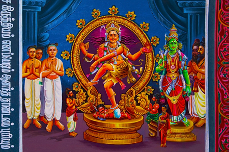 Colorful paintings on the ceiling of Nataraja Temple, Chidambaram, Tamil Nadu, India. Hindu temple dedicated to Nataraja Shiva as the lord of dance. Temple wall carvings display all the 108 karanas from the Natya Shastra by Bharata Muni and these postures form a foundation of Bharatanatyam, a classical Indian dance.