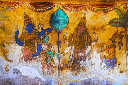 Colorful paintings on the inner wall of the Brihadishvara Temple, Thanjavur. Hindu temple dedicated to Lord Shiva, it is one of the largest South Indian temple