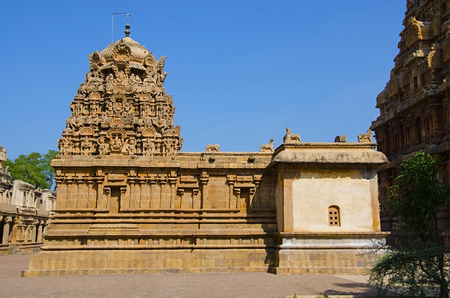 Hindu temple dedicated to Lord Shiva, it is an example of fully realized Tamil architecture, built by Raja Chola I between 1003 and 1010 AD. UNESCO World Heritage Site, the Great Living Chola Temples
