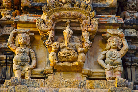 Lord Ganesha on the Gopuram, Brihadishvara TempleThanjavur. Hindu temple dedicated to Lord Shiva, it is one of the largest South Indian temple, built by Raja Chola I between 1003 and 1010 AD