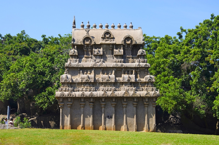 Carved temple near Krishnas Butter Ball, Mahabalipuram, Tamil Nadu state of India Stock Photo