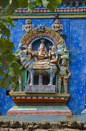 Colorful carved idols on the Gopuram, on the way to Thanjavur, Tamil Nadu state of India