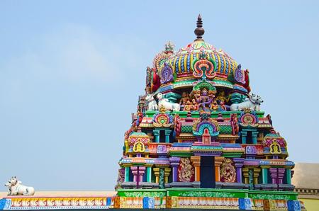 Colorful carved Gopuram, Near Gangaikonda Cholapuram, Tamil Nadu state of India