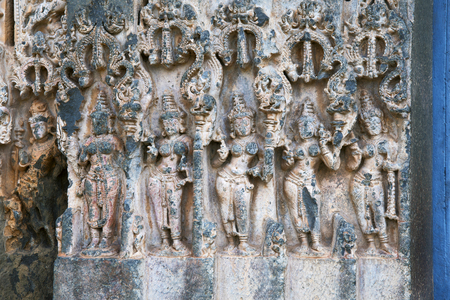 Dancers on the door jambs welcoming Lord Shiva.The entrance doorway and the towers are covered with close intricate carving.