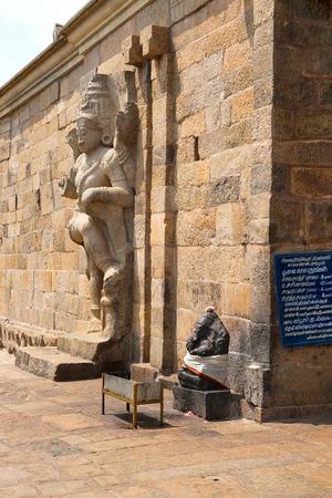 Dwarapala and Ganesha on the left side of the entrance to the mamamandapa, Brihadisvara Temple, Gangaikondacholapuram, Tamil Nadu, India. View from East.