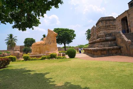 Huge Nandi and entrance to the mahamandapa, Brihadisvara Temple, Gangaikondacholapuram, Tamil Nadu, India. View from North East. Stock Photo