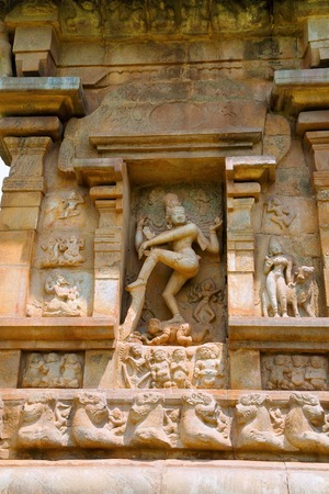 Nataraja dancing with Kali and Bhringi, niche on the southern wall of the mukhamandapa, Brihadisvara Temple, Gangaikondacholapuram, Tamil Nadu, India. View from South.